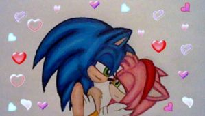 Bonus: SonAmy with lots of Hearts by GothNebula