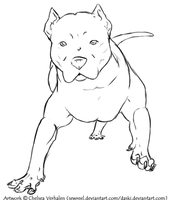 Free Pit Bull Lineart by sewreel