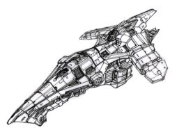 Study for a combat starship by ShadowHyperreal