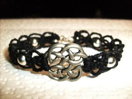 Celtic Knotwork Macrame Black Hemp Bracelet by Psy-Sub