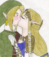 Zelink's first kiss by Amystarzel