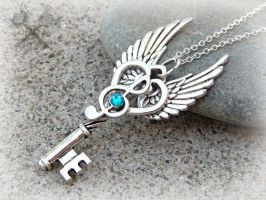 Silver and Blue Zircon Music Note Key Necklace by ArtByStarlaMoore