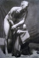 Male Nude on Stool by Ausila