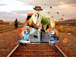 Steampunk blonde Old Car by muertosdesigns