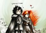 Jon and Ygritte. Plus a confused Ghost. by Dark-hell