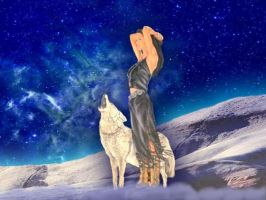 Native Maiden with Wolf by heartsofparis