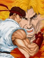 Street Fighter Ryu + Ken by Whispering-Road