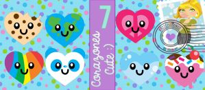 7 Corazones Cute En PNG :33 by KazZEditiionss