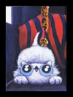 Funny cat kitten loves dangle toy ACEO by KingZoidLord