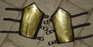 Brass and Leather Bracers by SteamViking
