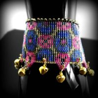 Bollywood Bells - bead loomed cuff by CatsWire