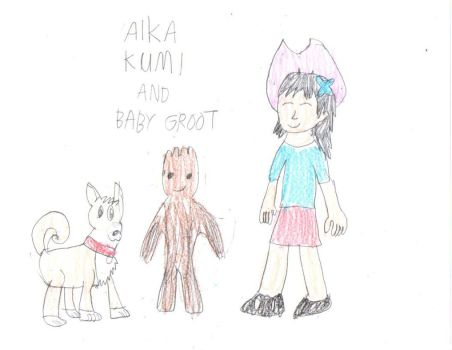 Aika, Kumi, and Baby Groot by chaoscontrolmaster