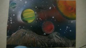 spray paint art , space from a deserted planet by abtheartist