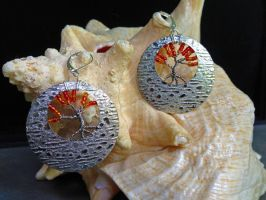 Upcycled Fall Tree of Life Earrings [FOR SALE] by HikariKage-Cat
