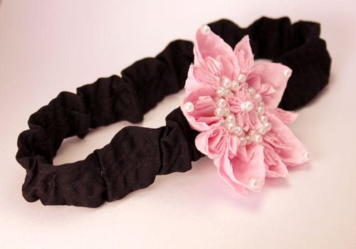 Pink Cotton Flower Baby Headband with Pearls by SmexySarah
