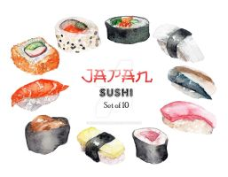 JAPAN Sushi Watercolor by kristinecabili