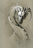greyscale dragon by hibbary