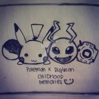 PokemonxDigimon CHILDHOOD by m1lk11wayz