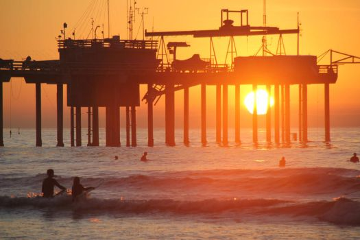 Sunset Surf at the Pier by KARCEN