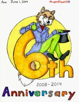 Apollo the Wolf 6th Anniversary by MugenPlanetX
