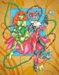 Harley Quinn and Poison Ivy by ibroussardart