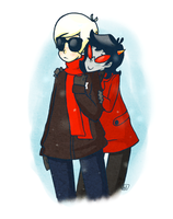dave and terezi and snow by Esme123