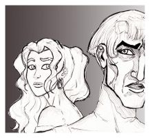 Frollo and Esmeralda by Howlingmojo