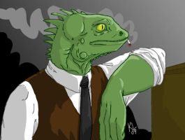 Smoking lizzard by Lundsfryd