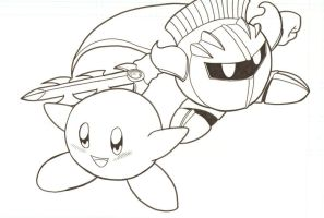 Kirby and Metaknight by kyletwilight