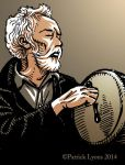 Artwork of Barry Baker playing the bodhran by Rustyoldtown