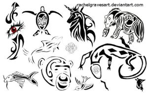 Tribal Animal Brushes by Rachelgravesart