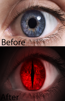 Before and After Demon Eye by lupie1324