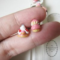 St Honore and Religieuse Ear Studs by Snowfern