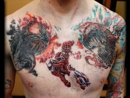 Spiderman Chest Piece done by Sean Ambrose WIP by seanspoison
