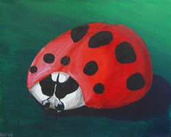Ladybug painted on a canvas by BrittaM