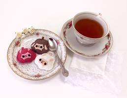 Alpaca Cream Puff Plushie Tea Party by TeacupLion