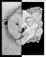 lion skull lines by Mrs-Elric-613