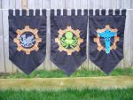 Steampunk themed custom flags by EmeraldFoxSeamstress
