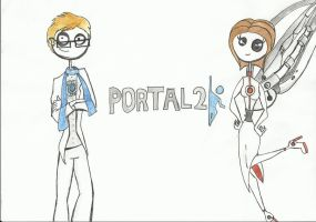 Portal 2 Tim burton style by icantstopdrawing