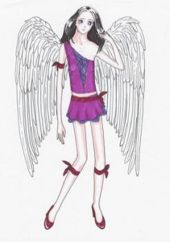 Angel with black hair by annrosa