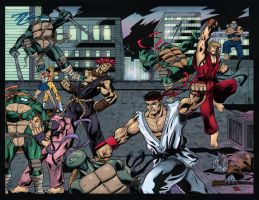 Street Fighter vs TMNT by mike-mcgee