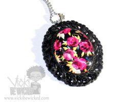 Red Flowers Black Cameo Necklace by VickiBeWicked