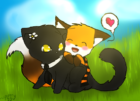 Foxxy likes hugging kitty by perry99