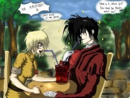 AT: Alucard and Seras- Drinking A Glass of... by Jaqie