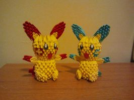 3D Origami Plusle and Minun by pokegami