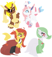 Ponified Pokemon Adopts: Different eyes by Nekochnyan