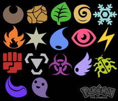 Pokemon Type Symbols by TaniJ