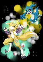 +renamon+veemon+ by Eeriah