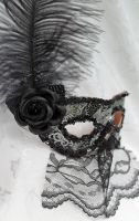Black And Silver Mask with Veil by DaraGallery