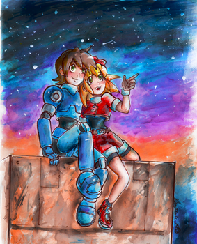 MegaMan Legends-Watching the Night sky by Lea-Manga